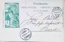 "Schweiz Suisse 1900: PK ""25 Jahre UPU"" CP ""Jubilé UPU"" 5c Grün Vert Mit O BUBIKON 25.XI.00 Nach BASEL - Timbres Sur Timbres"