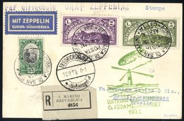 1932 6th South America Flight San Marino Acceptance Card Registered To Pernambuco, Franked 25c + Airs L2 & L5, Bears Gre - Stamps