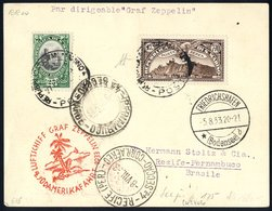 1933 4th South America Flight San Marino Acceptance Card, Franked 25c + Air L7,70 & Addressed To Pernambuco. Obverse Bea - Stamps