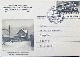 Schweiz Suisse 1947: Bild-PK 100 Jahre Eisenbahn (Bahn-Postauto) Mit O JUBILÄUMSFAHRT BADEN-ZÜRICH 9.VIII.47 (ERSTTAG) - Trains