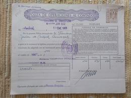 Q5105-SELLOS FISCALES TIMBROLOGIA FILATELIA FISCAL ENTEROS FISCALES POLIZA OPERACIONES AL CONTADO ETAPA DICTADURA FRANQU - Fiscales