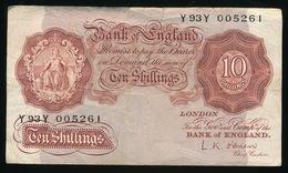 Bank Of England  Ten Shillings   2 Scans - 1952-… : Elizabeth II