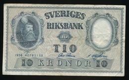 SVERIGES RIKSBANK  10 KRONOR  1958  2 SCANS - Suède