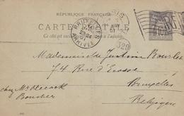 Entier Postal Paris Pour Bruxelles Belgique 1901 Type Sage 10 Centimes - Postwaardestukken