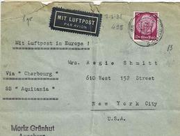 """TP N°495 (Y&T) Sur Enveloppe De Augsburg Pour New-Jork Par SS """"Aquitania"""" Via Cherbourg - Allemagne"""