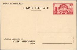 Entier CP Mémorial Australien De Villers Bretonneux Rouge Neuf Storch P2C Pavillon à Gauche Et Escaliers - Enteros Postales