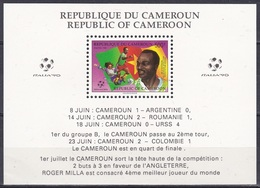 Kamerun Cameroon 1990 Sport Fußball Football Soccer Weltmeisterschaft World Championship Italien Italy, Bl. 26 ** - Kamerun (1960-...)