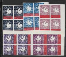 ALBANIE - 1946 - YVERT N° 336/340 (*) SANS GOMME BLOCS De 4 - COTE = 52+ EUR. - - Albania