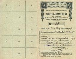 CARTE D'ABONNEMENT AUX EMISSIONS DE TIMBRES FRANCAIS/ TIMBRE  N° 19 PA OBLITERE/ CHAR DU SOLEIL/ 1947 - Correo Postal