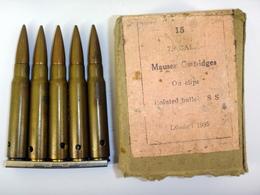Boite Avec 2 Lame-chargeur De 5 Cartouches 7.92 Mauser Belges - Neutralisées - Non Classés