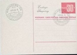 Schweiz Suisse 1964: POSTKARTE 30 Rp. CARTE POSTALE 30c. Mit O KIRCHBERG/SG 6.VII.64 (ERSTTAG / PREMIER JOUR) - Entiers Postaux