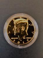 Demi-Dollar John F. Kennedy 2017 Plaqué Or Qualité BU Avec Certificat - Federal Issues