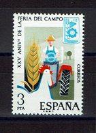 TIMBRE ESPAGNE MNH 1975 FIELD FAIR - TRACTEUR - GALLO - Agricultura