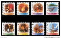 Taiwan 2002 Taiwanese Folklore Stamps Buddha Lantern Firework Dragon Boat Temple God - Unused Stamps