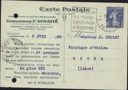 CP Publicitaire Ets Vinatié Manufacture Boites Métalliques Accusé Réception Commande YT 237 Daguin Cavaillon 1932 - Postmark Collection (Covers)