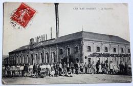 CPA Rare 02 Château Thierry 1908 Nombreux Ouvriers Devant La Sucrerie Belle Animation Usine Industrie - Chateau Thierry