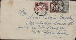Espagne CAD Barcelona 9 2 Jun 1945 YT 667 + Barcelone 75 + Lettre Express 28 Arrivée San Sebastian 22 3 Jun 45 10N - 1931-50 Gebraucht