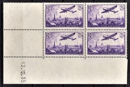 FRANCE 1934 / 1936 - BLOC DE 4 PA / Y.T. N° 10  - COIN DE FEUILLE / DATE / NEUFS** - Coins Datés