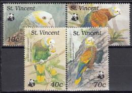 St Vincent 1989 - Yv 1121-4 (MNH) St. Vincent Amazon (Amazona Guildingii) - Parrots