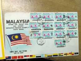 Malaysia 1965 FDC Letter Postal History Cover Sarawak Orchids 13 States Complete Kedah Perlis Pahang Trengganu Perak - Malaysia (1964-...)