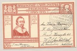 Nederland - 1925 - 12,5 Cent Hugo Grotius, G207 Van Tentoonstelling Naar Wolfenbüttel / Deutschland - Ganzsachen