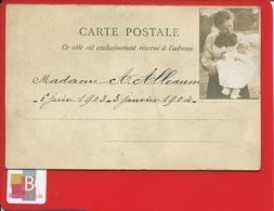 GENEALOGIE Madame ALLEAUME  Et Bébé  Faire Part Naissance Et Décès Bébé  1903 1904 ?? Couple Berceau Dos Photo - Généalogie