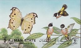 Ajman 1972 Bf. 438B Farfalle Butterflies Papillons Uccelli Birds Oiseaux Sheet Imperf. CTO - Sparrows