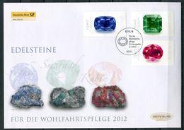 "Germany 2012 Big First Day Cover MiNr.2901/03""Wohlfahrt-Edelsteine-Rubin,Saphir,Smaragd ""1 Big Letter Cover - Minerals"