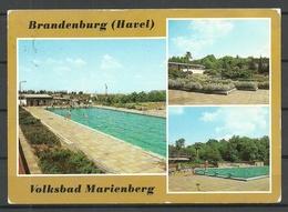 Deutschland DDR Ansichtskarte Brandenburg Volksbad Marienberg 1990 Gesendet, Mit Briefmarke - Brandenburg