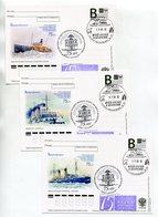 "2012 RUSSIA POSTCARDS ""B"" X3 RUSSIAN MUSEUM OF THE ARCTIC AND ANTARCTICA ICEBREAKERS - Navi Polari E Rompighiaccio"