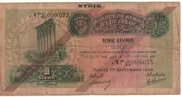 SYRIA    1 Livre  1.9.1939  P40c - Syrie