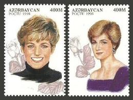 AZERBAIJAN 1998 ROYALTY ROYAL DIANA REMEMBRANCE FLOWERS ROSES SET MNH - Azerbaïjan
