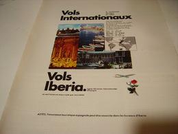 ANCIENNE PUBLICITE LIGNE AERIENNE VOL IBERIA 1969 - Publicités