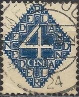 NETHERLANDS 1923 Numeral -  4c - Blue FU - 1891-1948 (Wilhelmine)