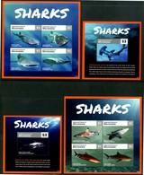 MICRONESIA 2014** - Squali / Sharks - 2 Miniblock + 2 Block Di 4 Val. MNH Come Da Scansione - Pesci