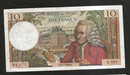 FRANCE - BANQUE De FRANCE - 10 Francs VOLTAIRE ( N. 8 / 5 / 1969 ) Serie: X. 494 - 1962-1997 ''Francs''