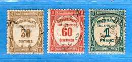 FRANCE °- 1927-31 - TAXE - Typographie. Yvert  57-58-60 - .  Oblitéré .  Vedi Descrizione - Postage Due