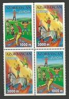 AZERBAIJAN 2002 EUROPA CIRCUS ACROBATS JUGGLERS HORSES BOOKLET PANE MNH - Azerbaïjan