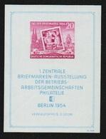 """DDR 1954, Michel Bl.10 XI **; Block """"Briefmarkenausstellung"""" Postfrisch Type """"XI"""", Kalanderbüge (Michel € 150.-) - DDR"""