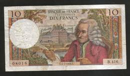 FRANCE - BANQUE De FRANCE - 10 Francs VOLTAIRE ( G. 4 / 7 / 1968 ) Serie: B. 416 - 1962-1997 ''Francs''