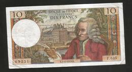FRANCE - BANQUE De FRANCE - 10 Francs VOLTAIRE ( K. 5 / 11 / 1970 ) Serie: F. 635 - 1962-1997 ''Francs''