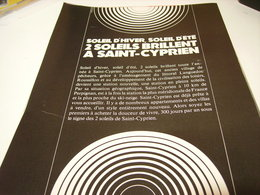 ANCIENNE PUBLICITE VOYAGE 2 SOLEILS A ST CYPRIEN 1969 - Publicidad