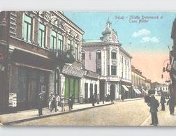 GALATI Strada Domneasca Si Casa Helder Street Life Colour Postcard With TIMBRU De AJUTOR + DIVIZA De DUNARE Handstamp - Rumänien