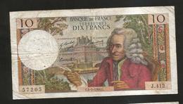 FRANCE - BANQUE De FRANCE - 10 Francs VOLTAIRE ( C. 4 / 7 / 1968 ) Serie: J. 412 - 1962-1997 ''Francs''