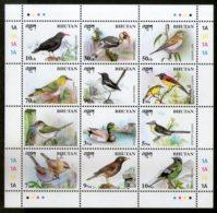 Bhutan 1998 Birds Wildlife Fauna Animals Sc 1194 Sheetlet Of 12 MNH # 9313 - Bhutan