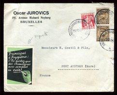 Belgique - Vignette Commerciale Sur Enveloppe De Bruxelles En 1934 Pour La France - Réf O36 - Commemorative Labels