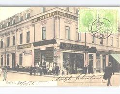 GALATI Splendid Street Scene With Shop Fronts LIBRARIA NOVA Cereria AZUGA Etc. 1906 - Rumänien