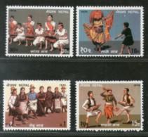 Nepal 1976 Folk Dances Costume Culture Mask Sc 317-20 MNH # 294 - Nepal