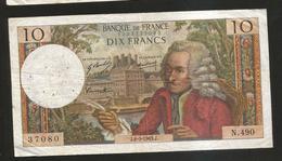 FRANCE - BANQUE De FRANCE - 10 Francs VOLTAIRE ( J. 8 / 5 / 1969 ) Serie: N. 490 - 1962-1997 ''Francs''