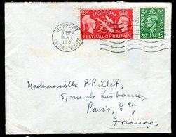 Royaume Uni - Enveloppe De Newport Pour La France En 1951 - Réf O48 - Marcofilie